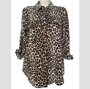 Equipment Femme Silk Leopard Print Shirt Button S